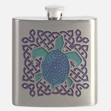 Celtic Knot Turtle (Blue) Flask