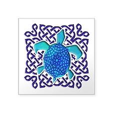"Celtic Knot Turtle (Blue) Square Sticker 3"" x 3"""