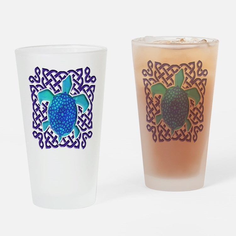 Celtic Knot Turtle (Blue) Drinking Glass