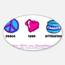 Peace Love and Cookies Oval Decal
