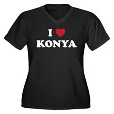I Love Konya Women's Plus Size V-Neck Dark T-Shirt
