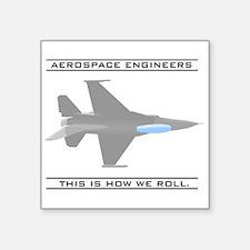 "aero_roll_bk.png Square Sticker 3"" x 3"""