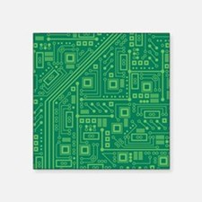 "Green Circuit Board Square Sticker 3"" x 3"""