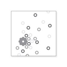 """gears ditsy.png Square Sticker 3"""" x 3"""""""