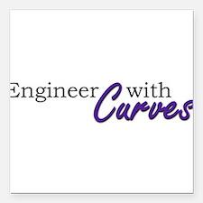 "engineercurves_bk.png Square Car Magnet 3"" x 3"""
