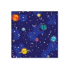 "solar system back.png Square Sticker 3"" x 3"""