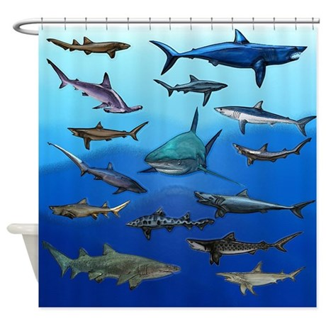 Shark gathering shower curtain by deluciousdesigns