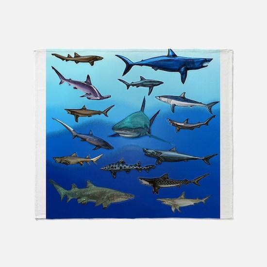 Shark Gathering Throw Blanket