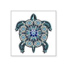 """Native American Turtle 01 Square Sticker 3"""" x"""