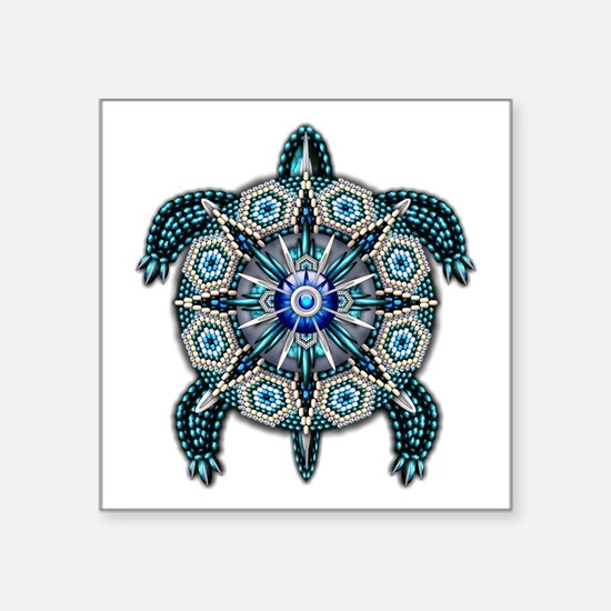 "Native American Turtle 01 Square Sticker 3"" x"