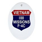 100 Missions Ornament (Oval)