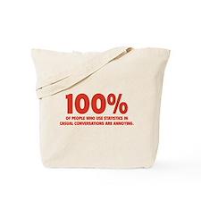 100% Statistics Tote Bag
