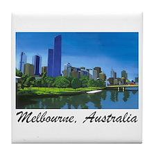 Melbourne Skyline Painting Tile Coaster