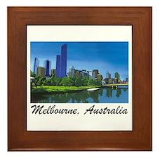 Melbourne Skyline Painting Framed Tile