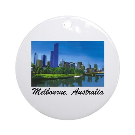 Melbourne Skyline Painting Ornament (Round)