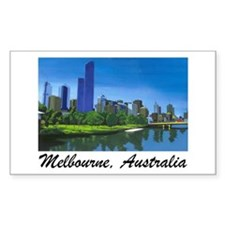 Melbourne Skyline Painting Rectangle Decal