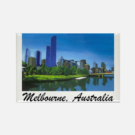 Melbourne Skyline Painting Rectangle Magnet