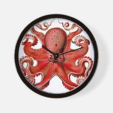 Red Octopus Wall Clock