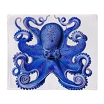 Blue Octopus Throw Blanket