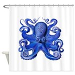 Blue Octopus Shower Curtain