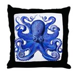 Blue Octopus Throw Pillow