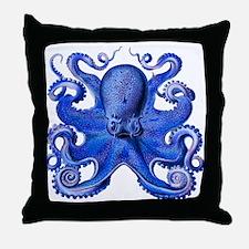 Blue Octopus Throw Pillow