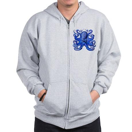 Blue Octopus Zip Hoodie