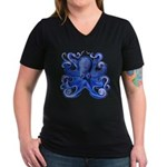 Blue Octopus Women's V-Neck Dark T-Shirt