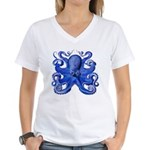 Blue Octopus Women's V-Neck T-Shirt