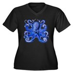Blue Octopus Women's Plus Size V-Neck Dark T-Shirt