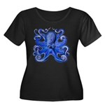 Blue Octopus Women's Plus Size Scoop Neck Dark T-S