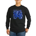 Blue Octopus Long Sleeve Dark T-Shirt