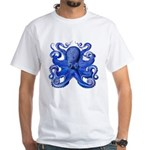 Blue Octopus White T-Shirt