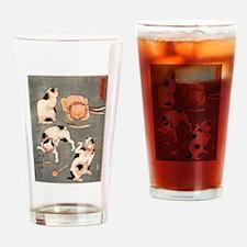 Utagawa Kuniyoshi Cats Drinking Glass