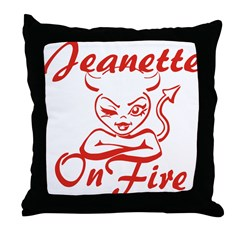 Jeanette On Fire Throw Pillow
