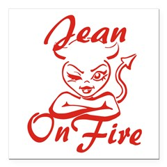 Jean On Fire Square Car Magnet 3