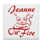 Jeanne On Fire Tile Coaster