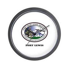 Fort Lewis with Text Wall Clock