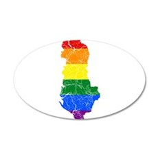 Albania Rainbow Pride Flag And Map 35x21 Oval Wall