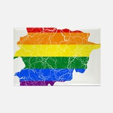 Andorra Rainbow Pride Flag And Map Rectangle Magne