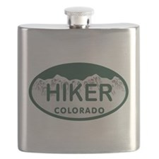 Hiker Colo License Plate Flask