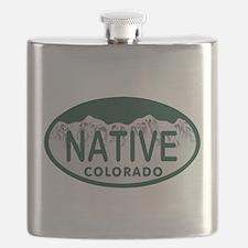 Native Colo License Plate Flask