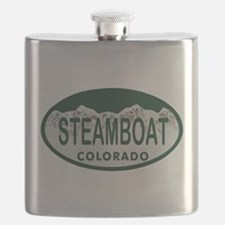 Steamboat Colo License Plate Flask