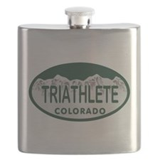 Triathlete Oval Colo License Plate Flask