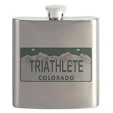 Triathlete Colo License Plate Flask