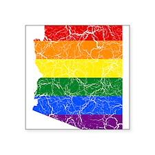 Arizona Rainbow Pride Flag And Map Square Sticker
