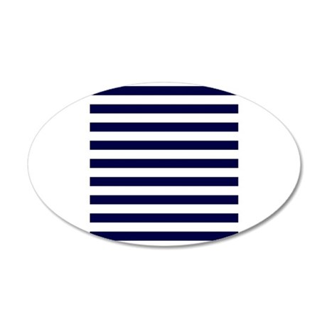 Nautical Navy Stripes 20x12 Oval Wall Decal