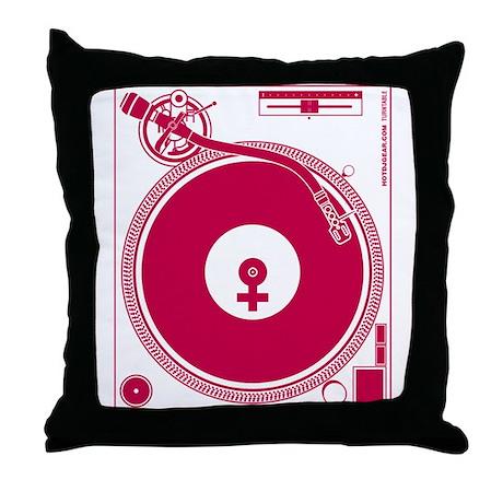 Female Turntable Throw Pillow
