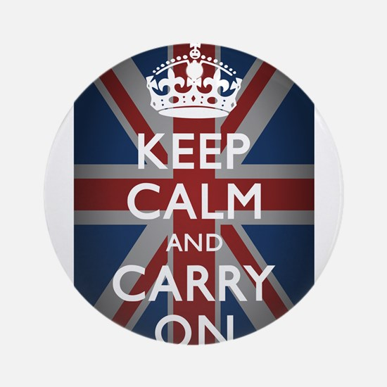 Keep Calm And Carry On Ornament (Round)