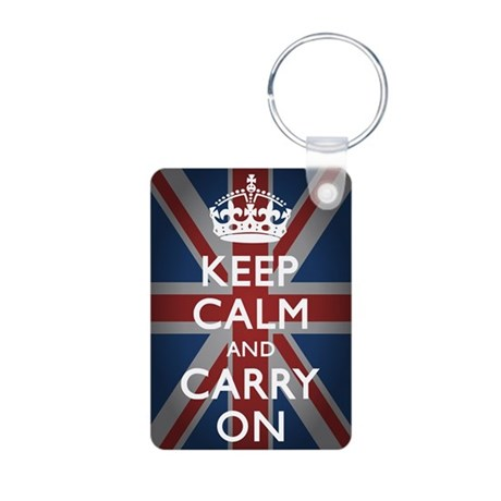 Keep Calm And Carry On Aluminum Photo Keychain